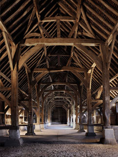 The soaring interior of Harmondsworth medieval barn