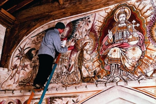 Conservation work on Victorian wallpainting at Edlesborough St Mary.