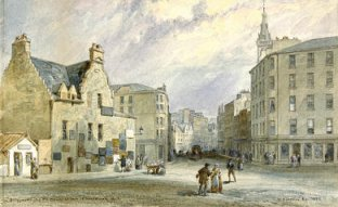 Bridgegate, Glasgow in 1846. Watercolour by William Simpson (Glasgow Museums)
