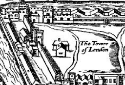 The Tower of London, from the woodcut map of London