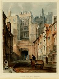 The North Gate, Durham by T.M. Richardson, before it was demolished in 1818.