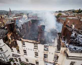 Royal Clarence Hotel on fire 28 October 2016